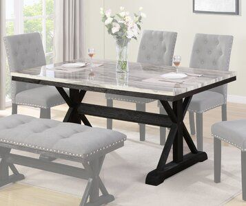 Darby Home Co Laurene Dining Table Wayfair Dining Table Black Dining Room Table Marble Dining Table With Bench