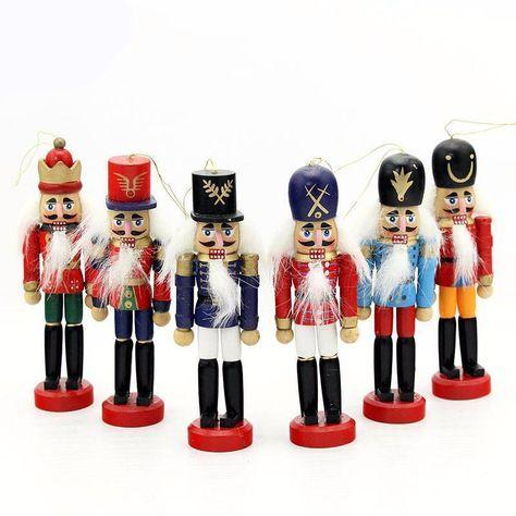 Nutcracker Puppet Decoration 12cm Wood Made Christmas Ornament