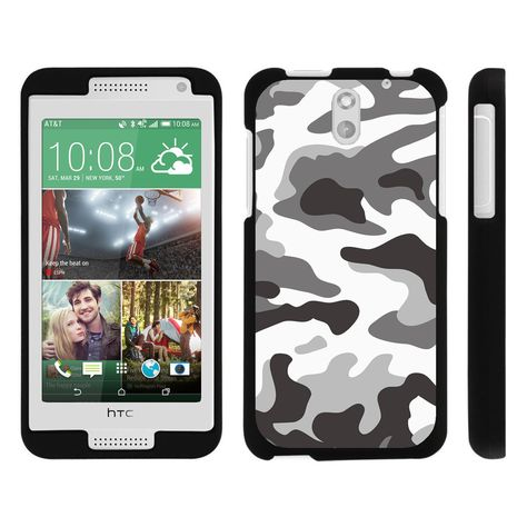 HTC Desire 610 Case SNAP SHELL 2 Piece Rubberized Hard Cover Plastic - Gray Camouflage