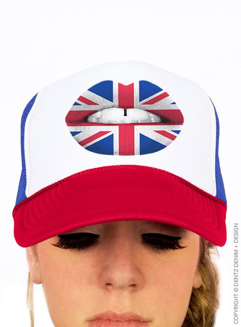 02444e40dff British Flag Lipstick - Trucker Hat Snapback Cap - UK London Lipstick - Union  Jack - Red White and B