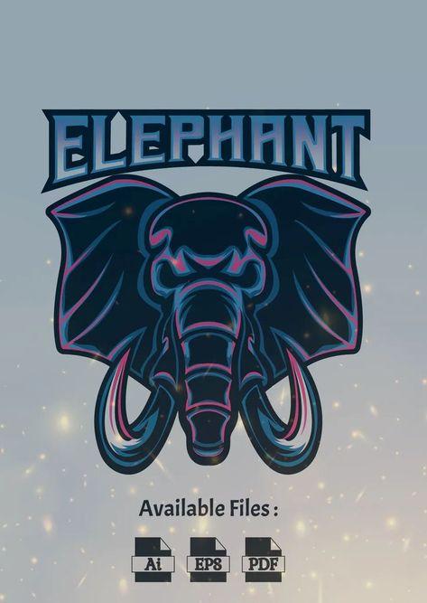 Elephant Sport and Esport Logo Template AI, EPS
