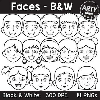 14 Pngs Faces Black And White Clipart Personal Commercial Use 300 Dpi To Ensure Crisp High Quality Printing Includes 7 Clip Art Arty Classroom Clipart