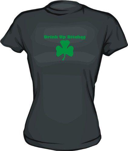 Drink Up Bitches Shamrock Logo Womens Tee Shirt XL-Kelly Green Babydoll