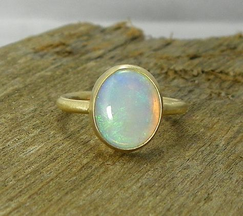 Ethiopian Opal Solid 14k Gold Ring, Natural Opal, Handmade Engagement Ring, Opal Engagement Ring, Eco Friendly, Simple Opal Ring
