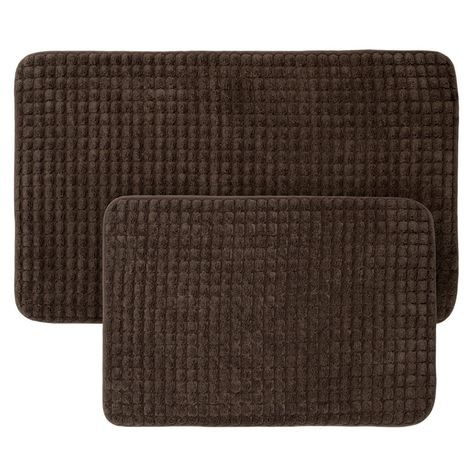 Jacquard Memory Foam Bath Mat 2pc Chocolate Yorkshire Home