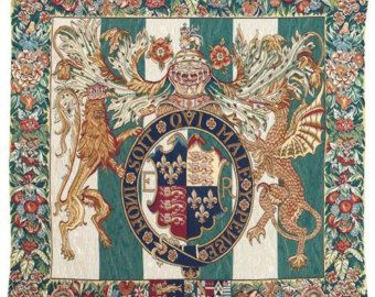 belgian wall tapestry hanging wall decor Royal crest Coat of Arms Honni Soit