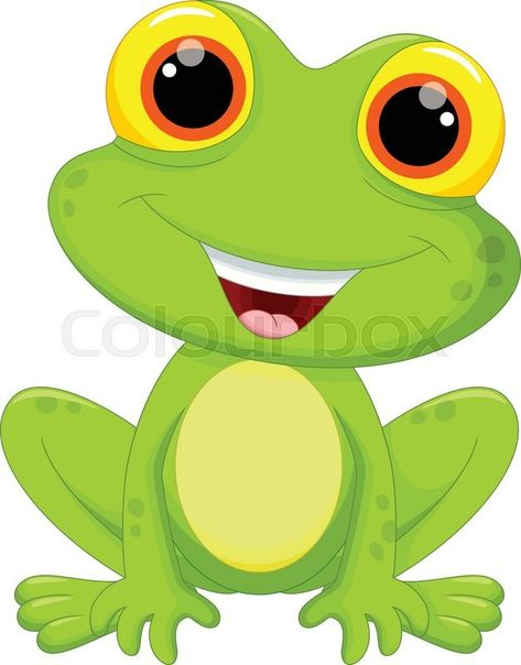 Vector illustration of cute frog cartoon isolated on white background | Stock Vector | Colourbox on Colourbox