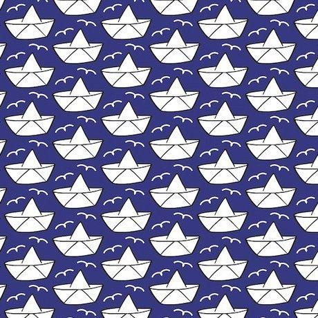 Vintage Loveboat by Cherry Picking - Blauer Baumwollstoff mit Schiffchen