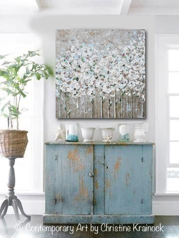 Original Art Abstract Painting Textured White Flowers Poppies Grey Taupe Creme Neutral Home Wall Decor 36x36 Abstract Floral Paintings Abstract Art Painting Texture Painting