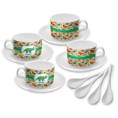 Dinosaurs Tea Cup Set Of 4 Personalized Tea Cups Tea Cup Set Cupping Set