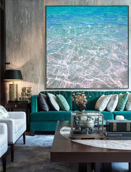 Tropical Waters Turquoise Blue Print Relaxing Wall Art Abstract