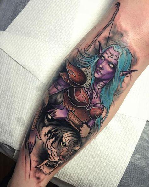 Night Elf Tattoo By Dean Kalcoff Elf Tattoo World Of Warcraft Tattoo Designs Men