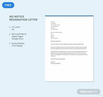 Free No Notice Resignation Letter | Letter | Resignation ...
