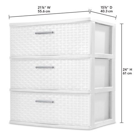 Sterilite 3 Drawer Wide Weave Tower White Walmart Com Plastic Storage Drawers Sterilite Drawers