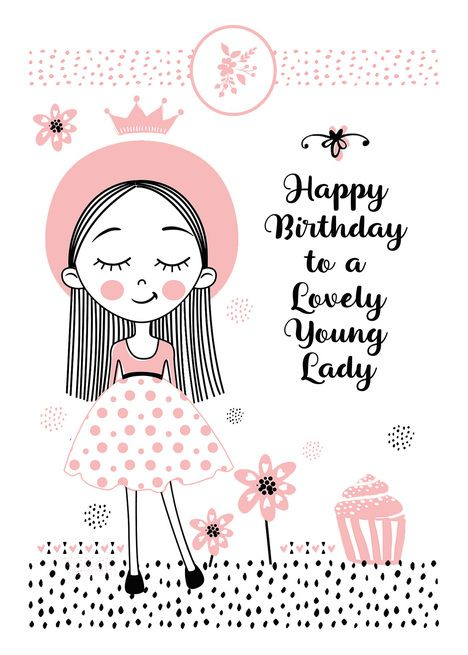Happy Birthday To Lovely Young Lady Cute Girl And Flowers Card