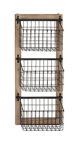 Deco 79 58646 58646 Basket Wall Rack Brown Black Baskets On Wall Home Decor Kitchen Vegetable Storage