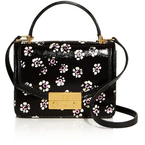 59c7cba4e308 Tory Burch Juliette Printed Mini Patent Leather Crossbody (605 CAD) ❤ liked  on Polyvore featuring bags