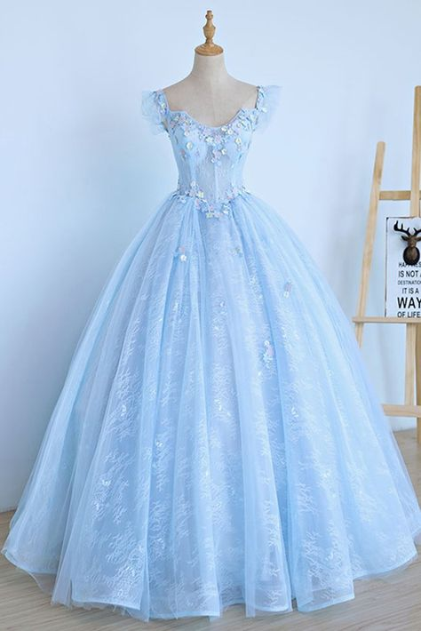 Light Blue Lace Cap Sleeve Long Sweet 16 Prom Dress, Evening Dress, Shop plus-sized prom dresses for curvy figures and plus-size party dresses. Ball gowns for prom in plus sizes and short plus-sized prom dresses for Quince Dresses, Ball Dresses, Evening Dresses, Winter Dresses, Dresses Uk, Winter Maxi, Casual Winter, Ball Gowns Evening, Chiffon Dresses