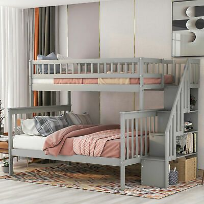 Twin Over Full Bunkbeds Stairway Bunk Bed Frame Platform With Storage Ladders Bunk Beds With Storage Wood Bunk Beds Cool Toddler Beds