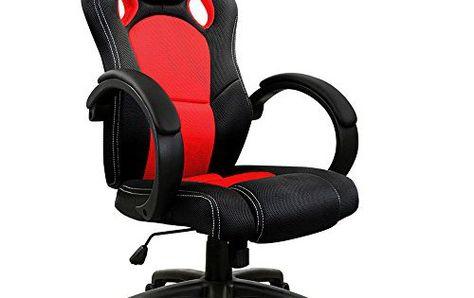 Bureau Noir Gamer : Chaise de bureau sport fauteuil u siege baquet u rouge et noir