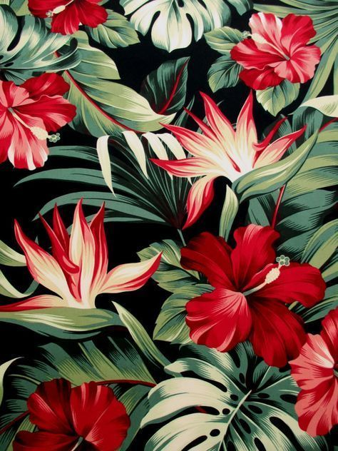 Fabric, Red Hibiscus Floral on Black, Tropical Hawaii, Bird of Paradise Flower, Last One Yard #birdfabric This beautiful fabric features lush and lovely tropical flowers and leaves on a black backdrop! Youll see large red hibiscus flowers and bird of paradise, along with rich green tropical leaves. This is a large print, with the largest red flower measuring about 7 inches across. This Hawaiian-style look is great for tropical décor, an island-style tote or where ever your imagination leads! Th