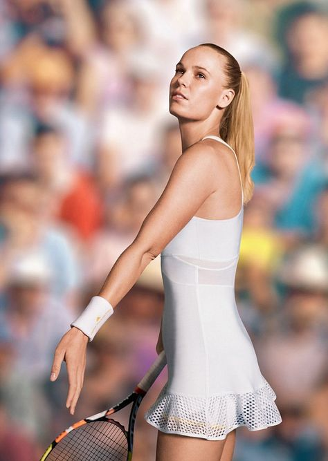 Looking good: Danish tennis star Caroline Wozniacki worked with designer Stella McCartney and adidas on this dress which she'll wear at Wimbledon that has a mesh skirt and gold trimmed shorts