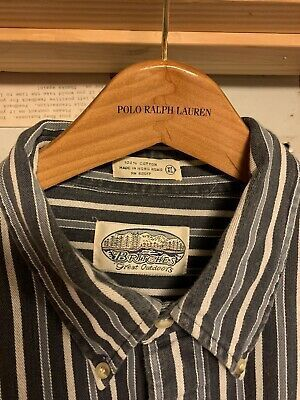 Britches Great Outdoors Striped Button Shirt Xl In 2020 Outdoor Shirt White Long Sleeve Shirt Button Shirt