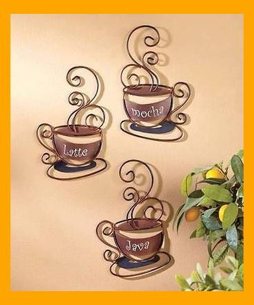 New Set Of 3 Decorative Wall Coffee Cups Great For Cafe Or Home Kitchen Decor Love This On Coffee Decor Kitchen Coffee Wall Decor Coffee Theme Kitchen