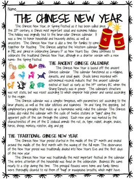 Chinese New Year- History & Overview Reading Comprehension ...