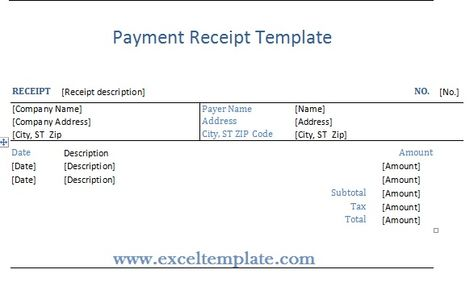 Get Payment Receipt Template ExcelTemple Excel Project - amount receipt format