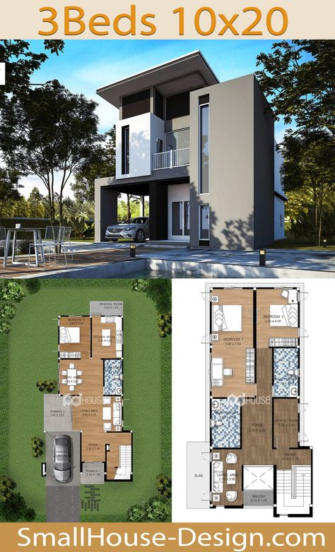 House Plans Idea 10x20 with 3 Bedrooms. EARTH HOME SERIES Tropical StyleLine EA-117, 2-story house 3 bedrooms, 3 bathrooms.  Parking for 1 car, Usable area, 208 square meters, Land area 50 Square Wah, 10 meters wide 20 meters long