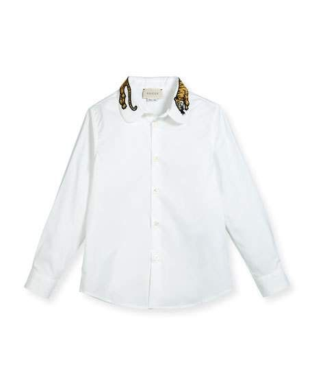 347dc02a2 Long-Sleeve Button-Down Shirt w/ Tiger Collar White Size 4-12 ...