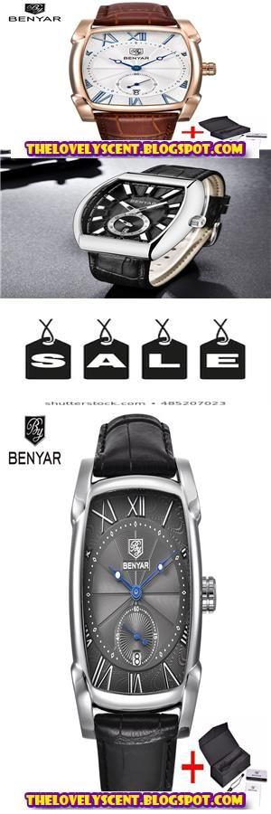 Benyar Brand Square Men Watch Business Waterproof Quartz Genuine Leather Wrist Watch Men Clock Male Wristwatch Men Watches For Men Wrist Watch