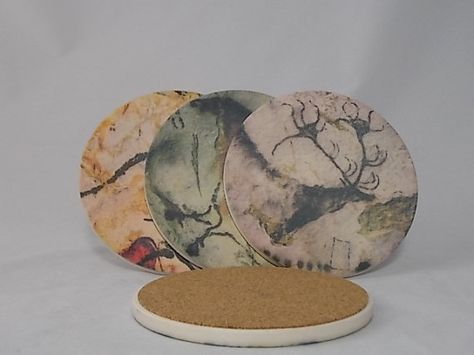 Sandstone Coaster Set Lascaux Cave Painting w/ by dynastyprints