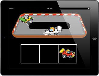Racing Cars  Choisis une voiture pour la placer sur le circuit et lorsque toutes les voitures sont prêtes…regarde-les faire la course!  Ce jeu idéal pour les utilisateurs ayant des difficultés visuelles et des handicaps moteurs qui souhaitent apprendre à localiser et à cibler des images. Ce jeu accessible par contacteur est un excellent moyen d'introduire l'analyse et la sélection à l'aide d'un ou deux contacteurs avec un boitier de numérisation clair et des prompteurs auditifs.