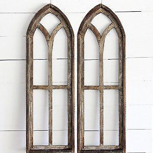 Tall Arched Wooden Window Frame Set Of 2 Farmhouse Wall Decor Vintage Style Ebay Wooden Window Frames Arched