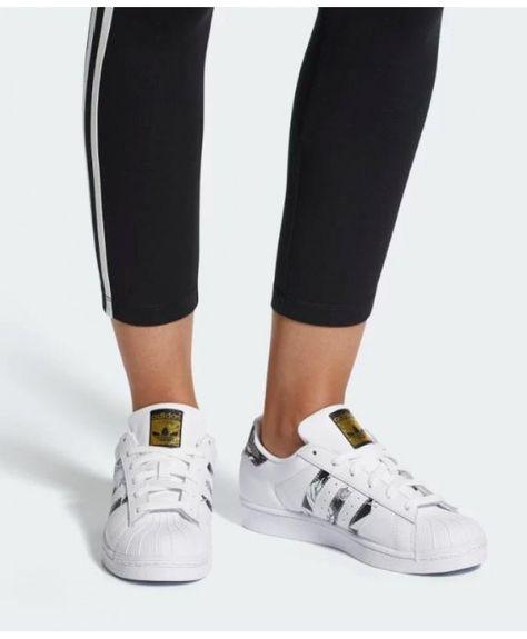 more photos 1e1fa ef149 Adidas Womens Originals Superstar W White Black Gold Metallic Shoes
