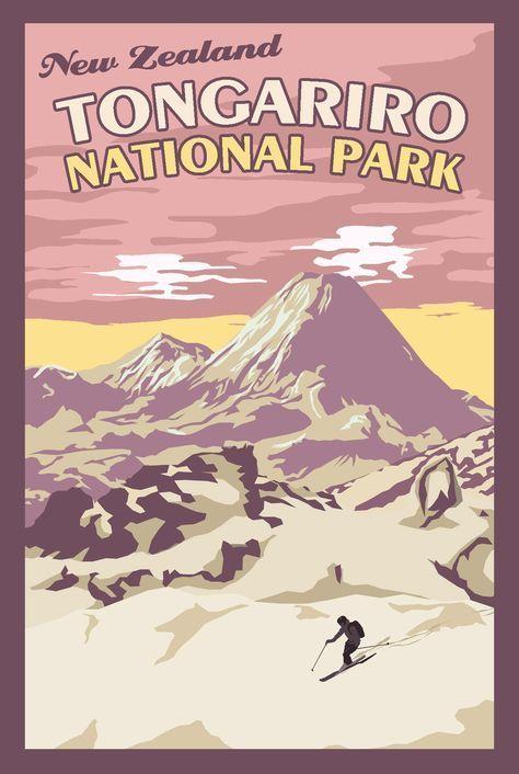 Tongariro New Zealand Vintage Travel Poster Vintagedestination Vintage Travel Posters Travel Posters Vintage Travel