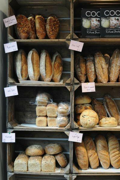Pin By Bread Lover On Farmer S Feasts Wares Rustic Coffee Shop Bread Shop Bread Display
