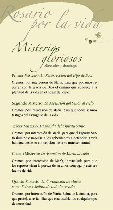 Rosario Por La Vida Misterios Gloriosos Frases Sabias Oraciones Rezos
