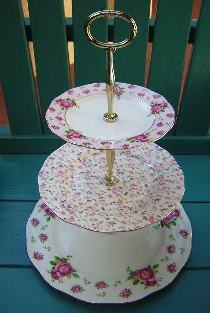 Royal Albert New Country Roses 3 Tier Cake Stand Tidbit Tray 6 Pc Old W Hardware Royalalbert Tiered Cake Stand Cake Stand
