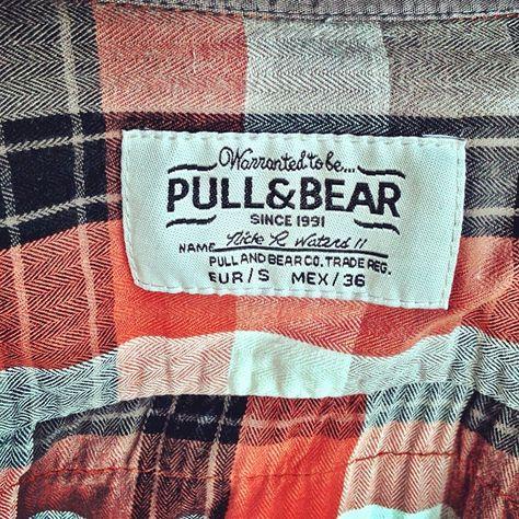 Pull & Bear #pullandbear #shirt #clothing #squares #stripes #red #orange #white #grey #black #label by ronny-andre, via Flickr