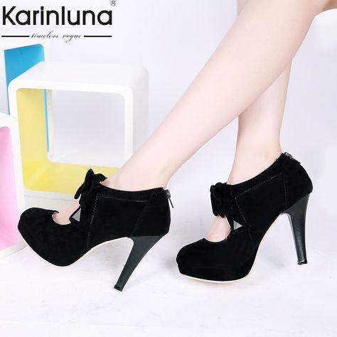 Karinluna Brand Fashion New Big Size 44 Classic 16cm High Heels thick Platform Shoes Woman Lady