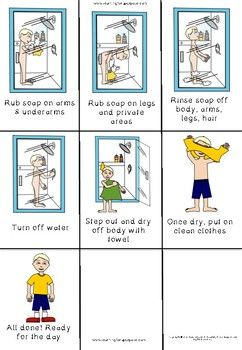 How To Take A Shower Visual Sequencing Cards Sequencing Cards Social Skills For Kids Social Skills Activities