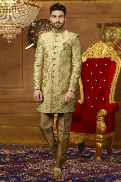 Pista Gold Mens Sherwani Mens Sherwani Sherwani Designer Suits