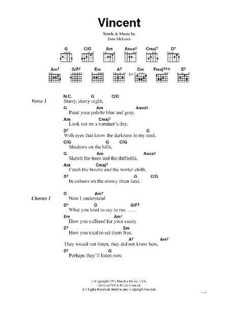 Vincent (Starry Starry Night) Sheet Music | Don McLean | Guitar Chords/Lyrics