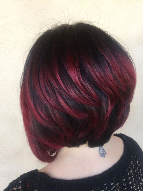 Dark brown to red ombré. Joico color #ombrepixiecut