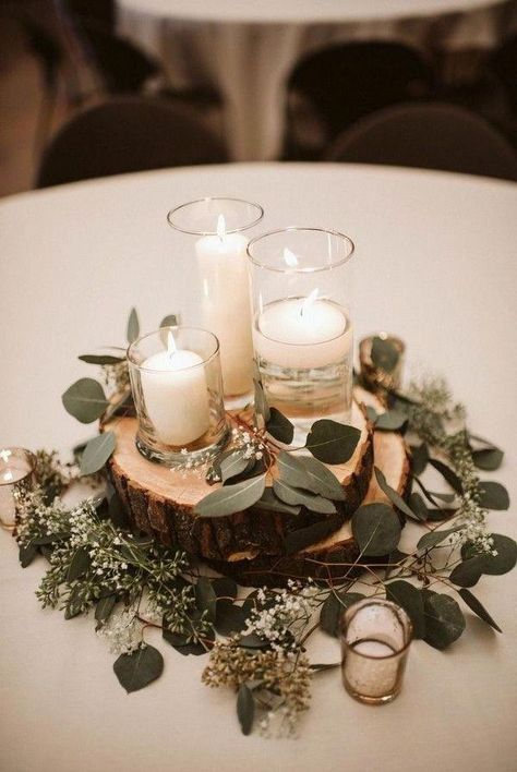 budget friendly greenery wedding centerpieces colors for wedding part 3 modern inspiration at a rustic wedding venue Romantic Wedding Centerpieces, Rustic Wedding Centerpieces, Wedding Reception Decorations, Table Wedding, Centerpiece Ideas, Simple Centerpieces, Centrepieces, Wedding Ideas Candles, Chic Wedding