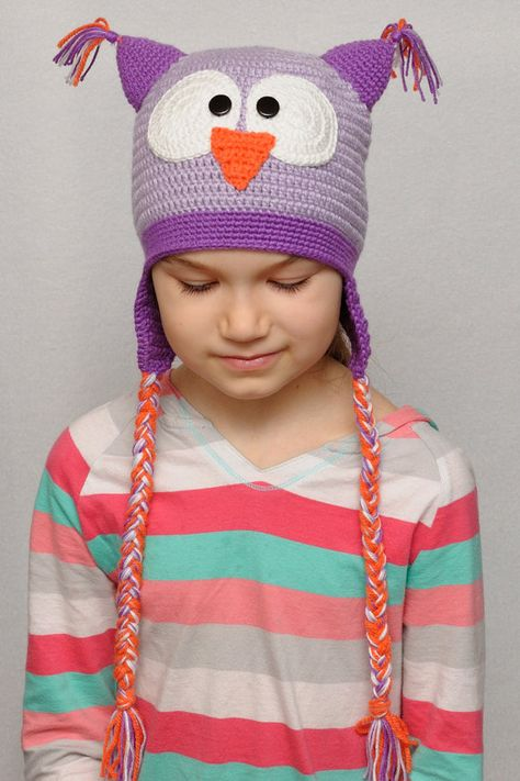 6762b30565f Crochet owl hat - Owl hat - Owl Beanie - Boy Girl hat - Hat with braids -  Baby Teen hat - Animals hats
