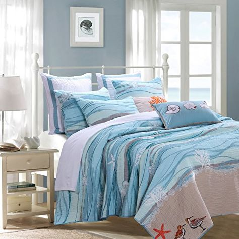 3 Piece Serene Maui Themed Reversible Quilt Set Full Queen Size